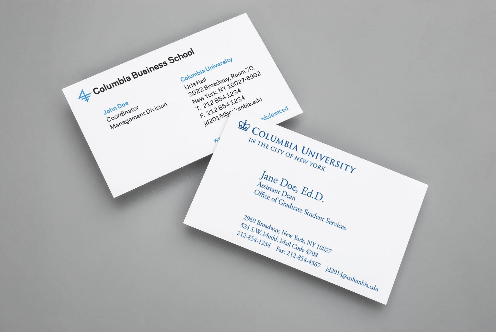 business cards columbia print