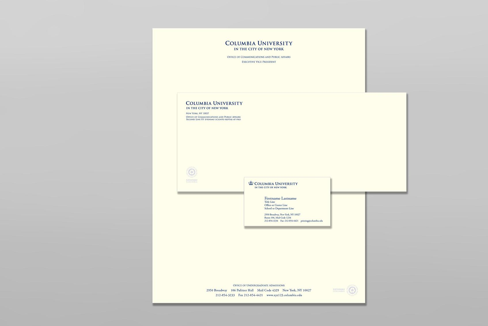 Columbia University stationery sample