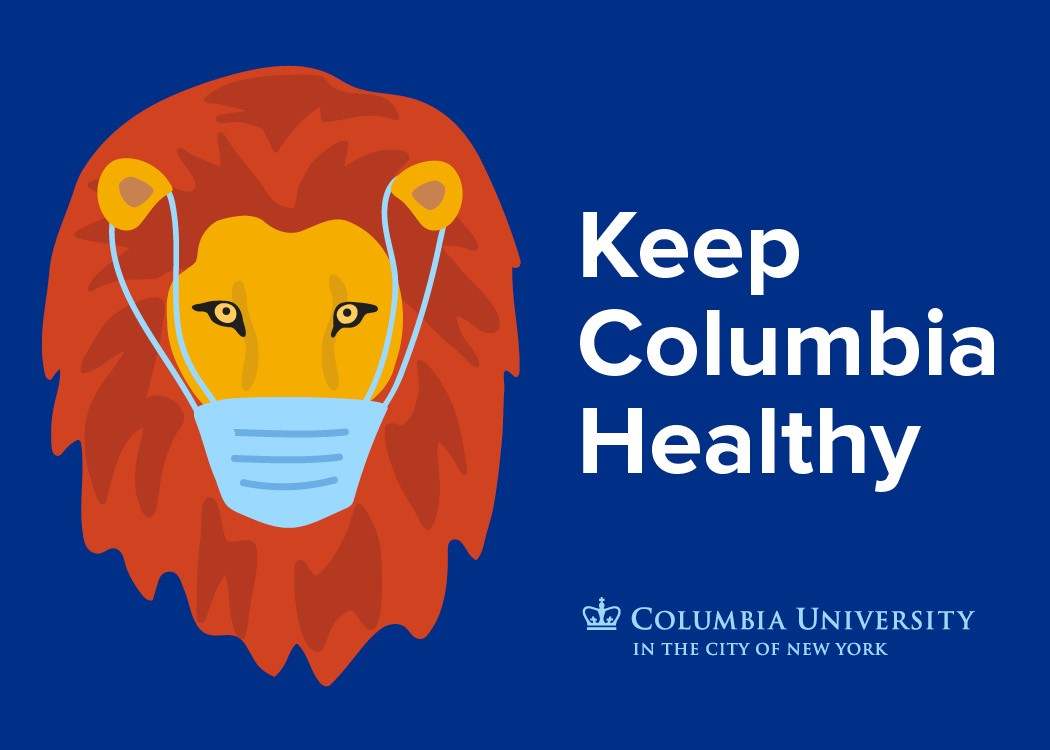 """Keep Columbia Healthy"" with image of lion wearing face covering"