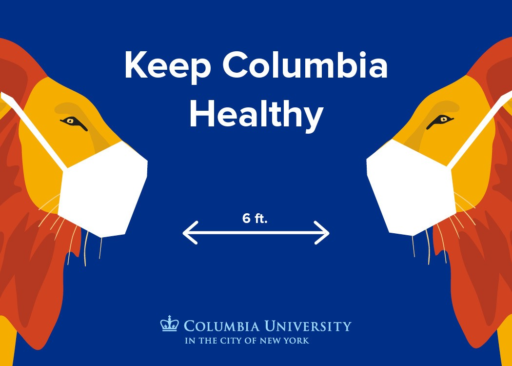 """Keep Columbia Healthy"" with image of lions wearing face covering standing 6 feet apart"